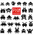 Set of cheerful pixel monsters vector image
