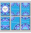vintage visiting card set Floral mandala pattern vector image