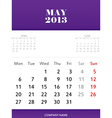 May 2013 calendar design vector image vector image