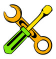screwdriver and spanner icon cartoon vector image
