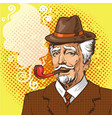 pop art of elderly man smoking vector image
