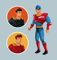 superhero protecting justice characters comic vector image