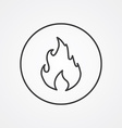 fire outline symbol dark on white background logo vector image