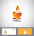 Hot coffee cup logo vector image