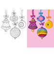 Coloring Book Of Different Christmas Decoration vector image