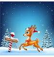 Cute baby deer running with a north pole wooden vector image vector image
