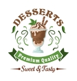 Chocolate ice cream with mint leaves retro badge vector image
