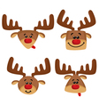 Cartoon set with heads of deers vector image