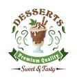 Chocolate ice cream with mint leaves retro badge vector image