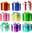 et colorful gift box with shiny ribbon bow vector image