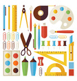 Flat Back to School Objects and Office Instruments vector image