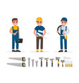 handyman plumber foreman engineer and builder vector image