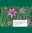 template for greeting card with flowers vector image