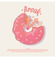 Poster for a cafe or office with donut vector image