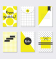 Cute assorted yellow and white trendy patterns vector image