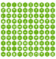 100 windmills icons hexagon green vector image