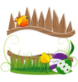 Funny birds and Easter eggs vector image