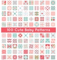 100 Cute baby seamless pattern Retro pink white vector image