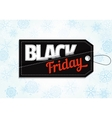 Black Friday sales tag on snowflake background vector image