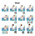 Complete Set of Muslim Wudu or Ablution Guide vector image