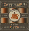 coffee shop vintage label with orange cup of vector image