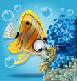 discus fish on a blue background with anemones vector image