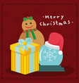 merry christmas gifts brown background graphic vector image