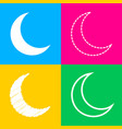 moon sign four styles of icon on vector image