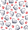 Ruby and Diamond Gem Hearts Seamless Pattern vector image