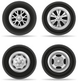 set wheels for car vector image