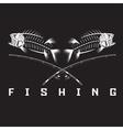 vintage fishing emblem with skeleton of bass vector image