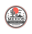 Mexican vintage isolated label with cactuses vector image