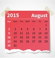 Calendar august 2015 colorful torn paper vector image vector image