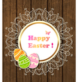 Easter banner with lace and eggs vector image vector image