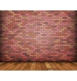 Background with bricks and wooden floor vector image