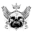 skull with wings vintage t-shirt design vector image