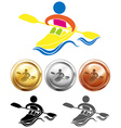 Sport icon design for kayaking and medals vector image