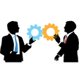 Business people join tech collaboration solution vector image