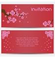 Invitation Design Template Blooming Sakura on Red vector image