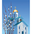 Orthodox church and willow vector image