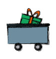 train cargo car with gift box delivery transport vector image