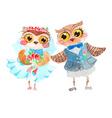 Watercolor cute owls vector image
