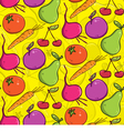 seamless background colorful fruits and vegetables vector image