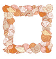 sea shell square frame vector image