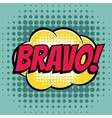 Bravo comic book bubble text retro style vector image