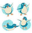 Funny set of penguin character dancing jumping vector image
