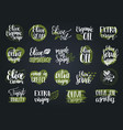 hand lettering olive production signs vector image