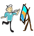 painter paints a canvas with crayons vector image