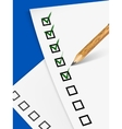 Pencil filling up the questionnaire on white paper vector image
