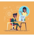 Black helpline operator consulting a client vector image